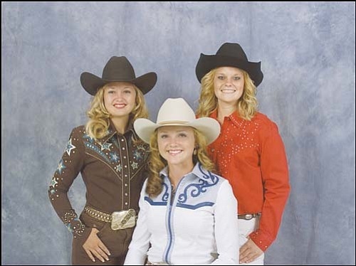 The three candidates for Andy Devine Days Rodeo Queen from left are: Cristyn Peacock, Cory Smith and Tori Hosler.  <br>Courtesy