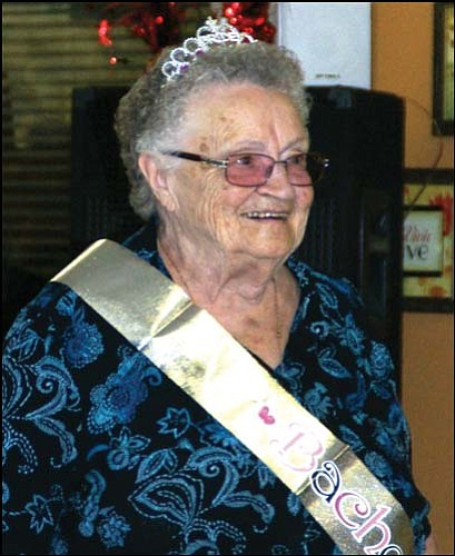 Wilma Althause was the bachelorette auctioned and bought by Martin Concrete at the Route 66 Rotary spaghetti dinner to raise funds for Meals on Wheels. <br> Courtesy
