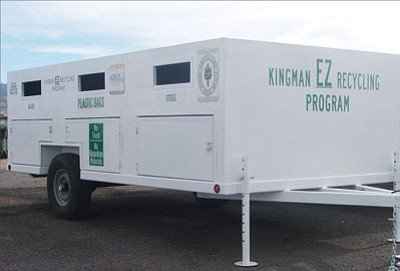 Kingman Sanitation Department/Courtesy<br><br> One of Kingman�s four new recycling trailers, scheduled to debut this Saturday. The trailers are equipped with multiple chutes for collecting a wide range of recyclables, from paper and plastics to steel and glass. The trailers will officially open for public use on Nov. 22 at Centennial Park, Cecil Davis Park and Southside Little League Park.