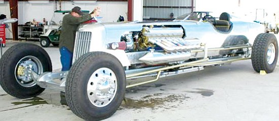 Submitted<br><br> Long, lean machine: Gary Rucker of Kingman and his crew builtand raced the streamliner car shown here in the reenactment of the 1928 land speed record set by Frank Lockhart. They were awarded the Frank Lockhart award for mechanical innovation and craftsmanship.