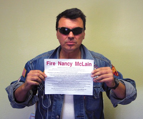 "NICHOLAS WILBUR/Gazette<br><br> Voting record questioned: Golden Valley resident Luca Zanna has created a Political Action Committee, ""Republicans Against Nancy McLain,"" to  highlight a voting record that he says does not represent Mohave County."