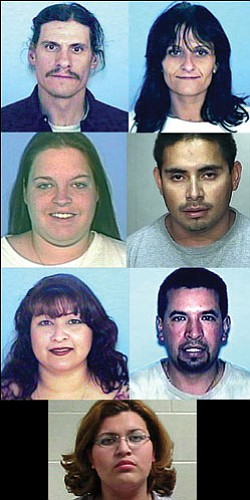 Top, L-R: Bryan Baldwin, Micki Castro Second Row: Tashua Havatone, Jose Rascon Third Row: Consuelo Magana, Reynaldo  Magana Bottom: Vernice Escalante