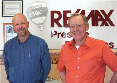JC AMBERLYN/Miner<br><br> Dwayne Patterson (left) and Vince Holton at the ReMax offices on Hualapai Mountain Road Friday afternoon.