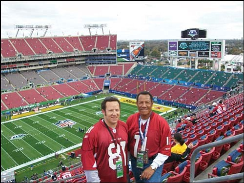 Courtesy My father and I were all smiles once we got into Raymond James Stadium in Tampa, Fla., before Super Bowl XLIII on Sunday. Unfortunately, those smiles couldn�t be found at the end of the game.