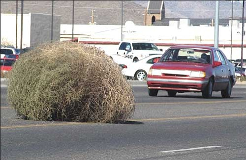 A giant tumbleweed rolls onto Stockton Hill Road near Airway Avenue, causing traffic to maneuver around it.
