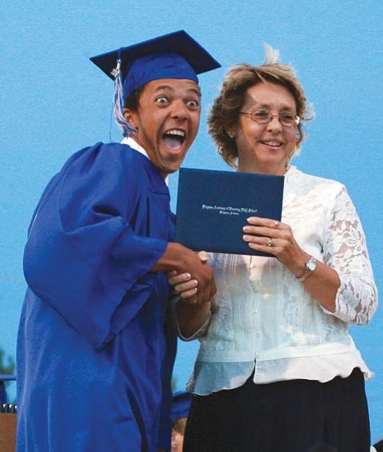 Nevada Hunt receives his diploma.