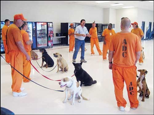 SUZANNE ADAMS/ Miner<br> Dog trainer and CARENet member Roy Hayes talks and takes questions from inmates at Arizona State Prison-Kingman during one of his weekly training session with the Friends from the Pen program.
