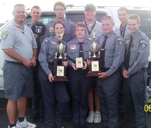 Courtesy<br><br> Mohave County Sheriff's Office Explorers show off trophies they earned at an Explorers Conference Competition held in Las Vegas June 13. Pictured left to right (front row): Explorers Coordinator Sgt. Carlos Rooks, Tiffany Stein, Cierra Barton, Donny Davis and Joe Sousa. Back row: Tyler Meador, Forrest Stein, Explorers Advisor Deputy Denny Gaddis and Explorers Advisor Deputy Scott Davis.
