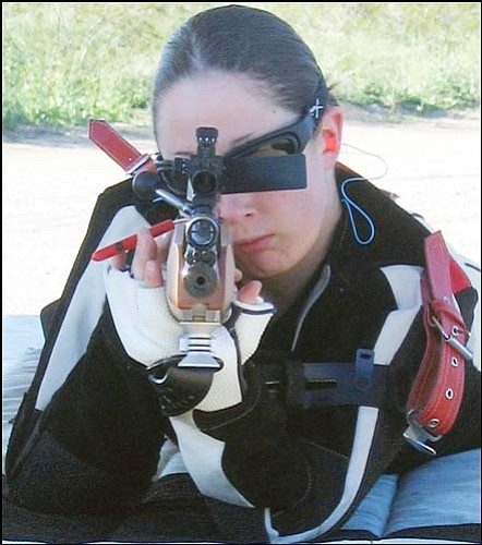 Courtesy<br> Kingman's Brittney Gaskill looks down the barrel of her Anschutz rifle. Gaskill will attempt to earn a spot in the USA Olympic Trials Saturday in California.
