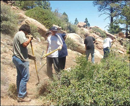 Courtesy<br> COYOTE Hualapai Crew B widens a trail.