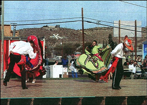 Courtesy<BR> Ballet Folklorico dancers perform Oct. 21, 2007, to mark the 150th anniversary of Lt. Beale's passage through what would become Kingman. The stage for the performance is now part of the roof of the St. Vincent de Paul warehouse in Dolan Springs.
