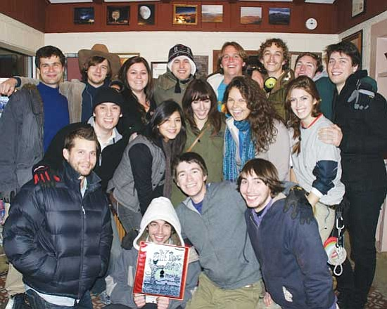 """HERBERTA SCHROEDER/Courtesy <br>Cast and crew for the independent film """"Once Upon a Time in Kingman,"""" pose for a group picture. From left to right: back row, Kieran Hair, Alexander Dobbs, Kristen Schreck, Nick Conedera, Tyler Holtman, Jonn Cohn, Shane McLoughlin, Gabriel Schwalenstocker. Second row: Hector (Hectorias) Padilla, Yesenia Correa, Nancy Russell, Rain Fingerhut, Kelly Gill. Third row: Nic Mercure, Eric Corriea, Jordan Raabe, Adam Corriea"""