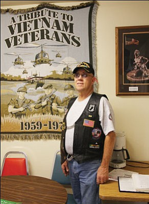 "JC AMBERLYN/Miner Vietnam Veterans of America Mohave County chapter President Ralph McKie stands outside the Veterans Service Office in Golden Valley that his organization helped to open in 2009. The VSO office was named after fellow Vietnam veteran Joe Bibich, who died in a fishing accident off the coast of Mexico last spring.<br> <a href=""http://kingmandailyminer.com/Formlayout.asp?formcall=userform&form=20"">Click here to purchase this photo</a>"