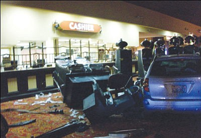 Bullhead City Fire Department/Courtesy Emergency officials released this picture of the aftermath of the scene where a 70-year-old man drove through the front of the Edgewater Hotel and Casino in Laughlin Wednesday morning, killing two and injuring seven.