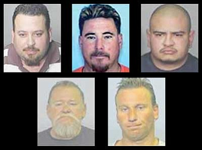 Sean Blackwell, 40, John Boone, 55, Michael Mayo, 30, Daniel Milea, 40, and his brother, Xavier Milea, 37, are the last remaining suspects out of an original 18 that were arrested in April 2008 after a lengthy investigation.