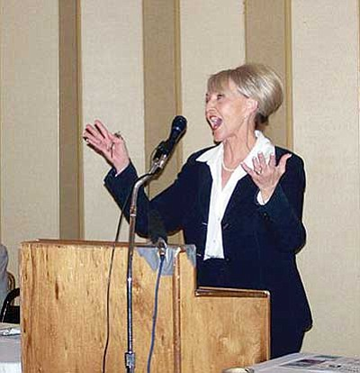 Courtesy<br/>Gov. Jan Brewer spoke to a packed house at the Kingman Republican Men's Forum Tuesday night. The governor pushed her 1-cent sales tax and answered questions about the state's budget issues. <br/>