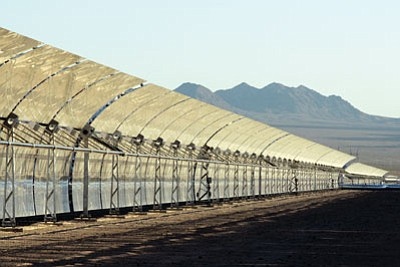 Courtesy <br> Hualapai Valley Solar would use curved mirrors similar to these at the Nevada 1 concentrated solar plant near Boulder City, NV.