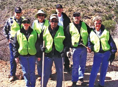 Courtesy<br />The Arizona F.O.P. Mohave Lodge No. 16 of Kingman recently cleaned up a section of Hualapai Mountain Road as a service project. The members attending are pictured as follows, back row left to right: Dan Bishop, John Slaughter and Doug Foster. From row left to right are: Mary Foster, Lawrence Craft, Bob Ohlemann and Andrea Ohlemann. Not pictured is Pat Mullen.
