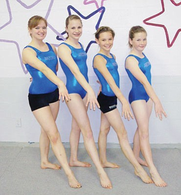 Courtesy<br> All Starz Academy went 4-for-4 at the Arizona Optional State Championships in Chandler March 19-21 as, from left, Leigh Becker, Sydney Tribbett, Briana Mecom and Brooke McFarland advanced to the USA Gymnastics Junior Olympic regional in Long Beach, Calif., this weekend.