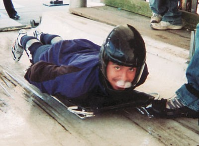 Courtesy<br /><br /><!-- 1upcrlf2 -->Chris Novak breaks out into a smile while learning how to ride a sled at the skeleton recruitment camp in Lake Placid, N.Y.