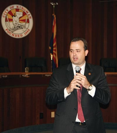 JC AMBERLYN/Miner<br /><br /><!-- 1upcrlf2 -->Arizona Speaker of the House Kirk Adams speaks Friday at Kingman City Hall.