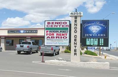 JAMES CHILTON/Miner<br> LED business signs such as this one for Diamond Brother's Jewelers at 4255 Stockton Hill Road could soon fall under new regulations that would control lighting levels and message duration.