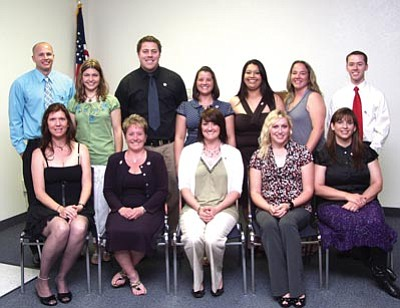 The graduates, from across the tri-city area, are (back row left to right) Matt Noake, Debra Fuller, Trey Salem, Leigh Frechette, Gina Arteaga, Alison Abbot and Brett Novak; (front row left to right) Jill Cone, Heidi Corrie, Michelle White, Ali Webb and Catherine Lucero.