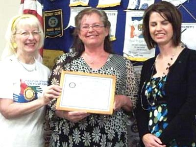 Courtesy<br /><br /><!-- 1upcrlf2 -->Executive Director of Kingman Boys and Girls Club Noreen Frisch (shown above, center, with Citizen of the Month Chairman Jo Ann Oxsen, left, and Rotary President-Elect Stephanie Menter) was named Kingman Route 66 Rotary Club's May Citizen of the Month. In addition to involvement with local, regional and national Boys and Girls Clubs, Frisch also serves as the Methamphetamine Prevention and Education chairperson on the Kingman Area Meth Coalition.