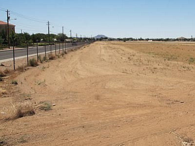 JC AMBERLYN/Miner<br> A view of the Mohave County Fairgrounds near Harrison Street, pictured Tuesday. This could be a BMX track in the future if organizers are successful.