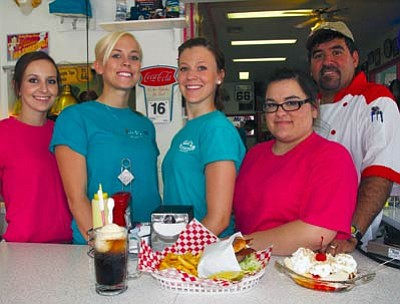 JC AMBERLYN/Miner -- Pictured from left to right Friday are Ashley Naves, Tristin Howes, Brandi Pellerito, Gabi Sauceda and proprietor Armando Jiminez at Mr. D'z Route 66 Diner.<br /><br /><!-- 1upcrlf2 -->