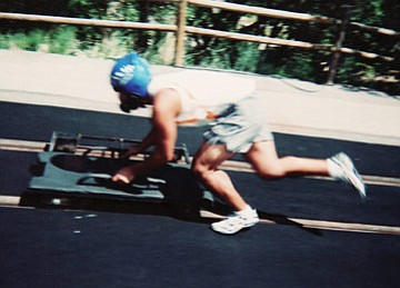 LEE NOVAK/Courtesy<br /><br /><!-- 1upcrlf2 -->Chris Novak, 16, learns the finer points of pushing during summer skeleton training in Park City, Utah, recently.