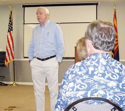 SUZANNE ADAMS/Miner<br /><br /><!-- 1upcrlf2 -->Sen. John McCain visited and answered questions from Kingman and Golden Valley area real estate agents Wednesday evening.