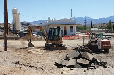 JC AMBERLYN/Miner -- Construction work continues on the Railroad Depot Thursday morning. The City Council will consider a $61,000 change order for the project when it meets tonight.<br /><br /><!-- 1upcrlf2 --><br /><br /><!-- 1upcrlf2 -->