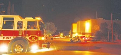 NAZ STOBE KIRST/Courtesy -- Emergency vehicles fill the street as authorities respond to a disturbance at the Mohave County Jail Friday night.<br /><br /><!-- 1upcrlf2 --><br /><br /><!-- 1upcrlf2 -->