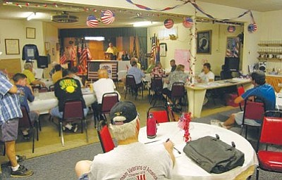 JAMES CHILTON/Miner<br /><br /><!-- 1upcrlf2 -->Members of the Mohave County Veterans Council meet at VFW Post 10386 Tuesday evening. Formed in July, the Veterans Council includes representatives from many of the local veterans' associations.