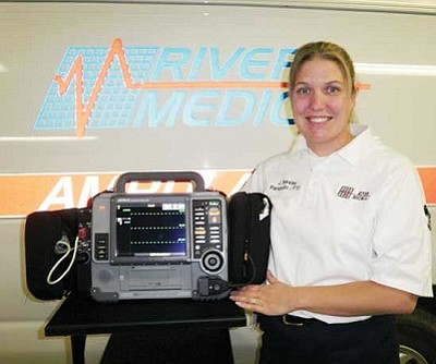 River Medical/Courtesy<br /><br /><!-- 1upcrlf2 -->Paramedic J. Beesley shows one of the new LIFEPAK 15 cardiac monitors.