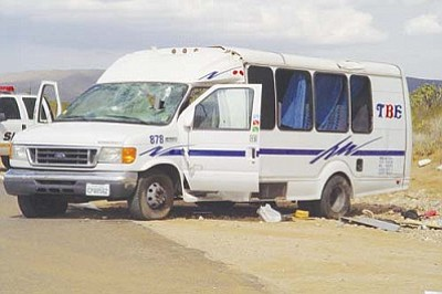 MCSO/Courtesy<br /><br /><!-- 1upcrlf2 -->This tour bus was carrying 12 people on Oct. 17 when it rolled once on Pierce Ferry Road, killing two Chinese tourists.