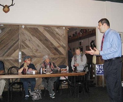 SUZANNE ADAMS/Miner<br /><br /><!-- 1upcrlf2 -->Rodney Glassman, the Democratic candidate for the U.S. Senate, spoke to Democrats Monday night at the Dambar & Steak House.