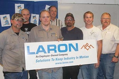 JC AMBERLYN/Miner<br /><br /><!-- 1upcrlf2 -->From left are Mark Sexton, Jeff McKowan, Paul Nicholson, Glenn Thoroughman, William Kroenke, Jeff Edwards and John Hansen, pictured Friday at Laron.
