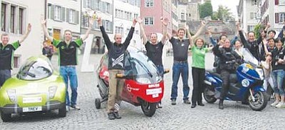 www.zero-race.com/Courtesy<br>The four ZERO Race teams have been traveling around the world since Aug. 16, each in a different zero-emission vehicle. Pictured from left to right are: Team TREV, from Adelaide, Australia; the Orlikon Solar Racing Team from Winterthur, Switzerland; the Vectrix Team from Berlin, Germany; and the Power Plaza Team from Seoul, South Korea.