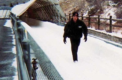 Courtesy<br /><br /><!-- 1upcrlf2 -->Chris Novak of Kingman walks the bobsled track in Park City, Utah, over Thanksgiving weekend. Next, Novak will be walking the track in Calgary, Canada, as he grows in the Olympic sport of skeleton.<br /><br /><!-- 1upcrlf2 -->