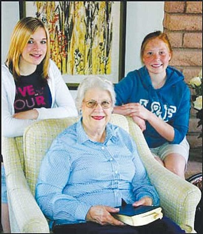 JC AMBERLYN/Miner<br /><br /><!-- 1upcrlf2 -->Diana Ruth Lingenfelter is pictured here in 2007 with two of her granddaughters, Jill Collins (left) and McKenzie Overson. Lingenfelter was honored that year with a Women Making History award.
