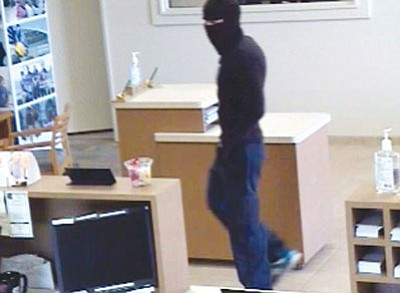 Courtesy<br /><br /><!-- 1upcrlf2 -->The Mohave County Sheriff's Office said Keith Brandon Coggins is the man shown in this surveillance footage during a robbery at the National Bank of Arizona in Golden Valley Thursday afternoon.
