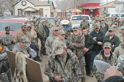 DON MARTIN/For the Miner<br> There were a total of 312 hunters out for the Antelope Eaters XXII Saturday and Sunday. Some stuck around for the drawing held in Seligman.