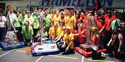 Courtesy<br> Bionic Bulldogs Team 60 is pictured with Teams 2449 and 1165 after their second place finish at the FIRST Robotics Competition Arizona Regional last Saturday.