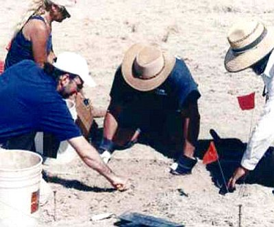 "Courtesy<br /><br /><!-- 1upcrlf2 -->Roswell researcher Don Schmitt and others are pictured digging at the Foster Ranch reported UFO crash site in Roswell, N.M., during the shooting of ""SciFi Investigates"" in 2006."
