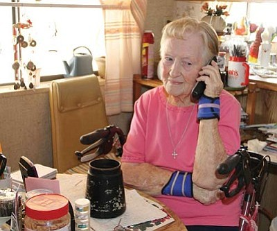 JC AMBERLYN/Miner<br>Betty Schneider, 90, narrowly dodged losing $3,500 to a telephone scam based out of Quebec, Canada.
