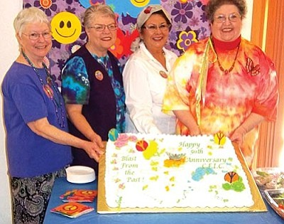 "Courtesy<br /><br /><!-- 1upcrlf2 -->From left, Nancy Riddle, president of the Morning Glories; Lynne Durant, Mohave County Extension educator; Linda Corona, CFIC Council president; and Marion Phelps, president of the Meadview Quail celebrate the CFIC's ""Blast from the Past"" recently."