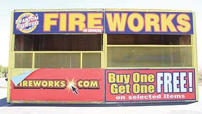 JC AMBERLYN/MINER<br /><br /><!-- 1upcrlf2 -->Fireworks booths have begun sprouting up around the city in anticipation of the Fourth of July holiday.