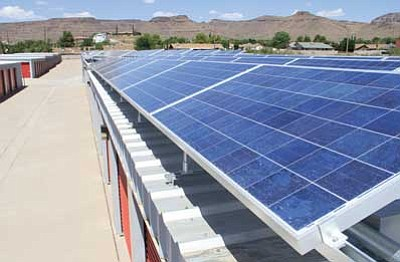 JC AMBERLYN/Miner<br /><br /><!-- 1upcrlf2 -->AAA Safe Storage solar panels bask under a blazing Arizona sun Thursday.<br /><br /><!-- 1upcrlf2 -->